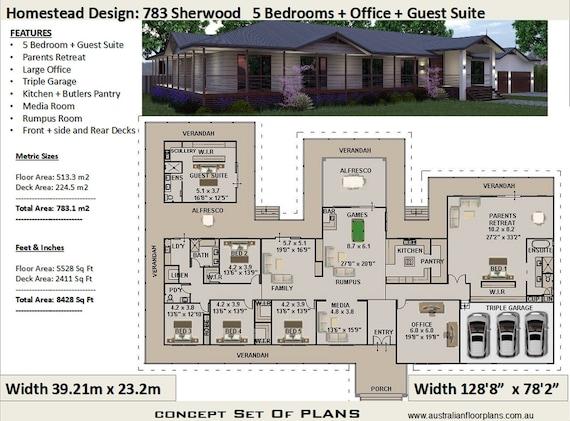 783 M2 8428 Sq Foot 6 Bedroom House Plan 783 Sherwood Etsy