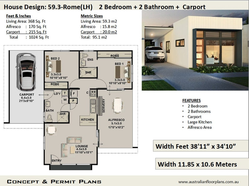 2 Bedroom 2 Bathroom Small Home Design Small Tiny House Plan Livinig Area 368 Sq Feet Or 59 3 M2 Granny Flat Concept Plans For Sale