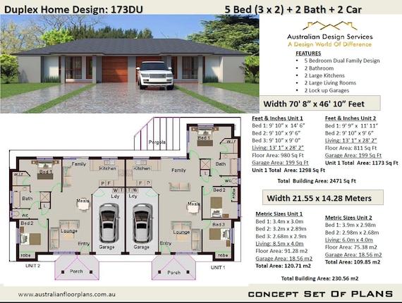 Duplex House Plans Modern 2 Family Home 230 56 M2 2778 Sq Etsy