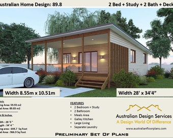 89.8 m2 or 966 sq foot - 2 Bedrooms + 2 bathroom Granny Flat - Concept House plans for sale