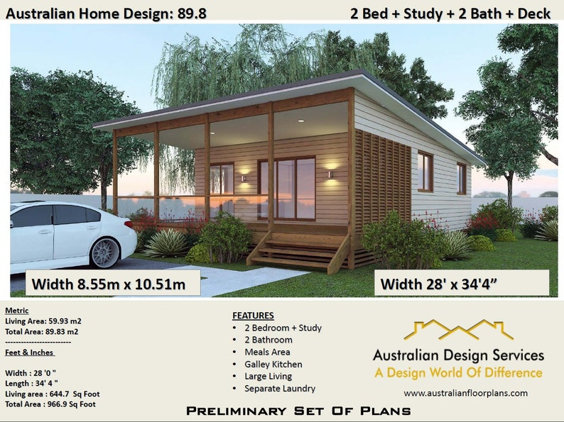 89 8 M2 Or 966 Sq Foot 2 Bedrooms 2 Bathroom Granny Flat Australia And Usa Concept Plans Blueprints House Plans Small House Plans