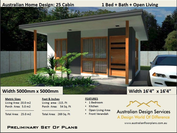 Small Cabin House Plan 25 Cabin - 25 m2 (269 Sq Foot) 1 Bedroom Cabin |  guest house plans | small cabins plans | plans For Sale