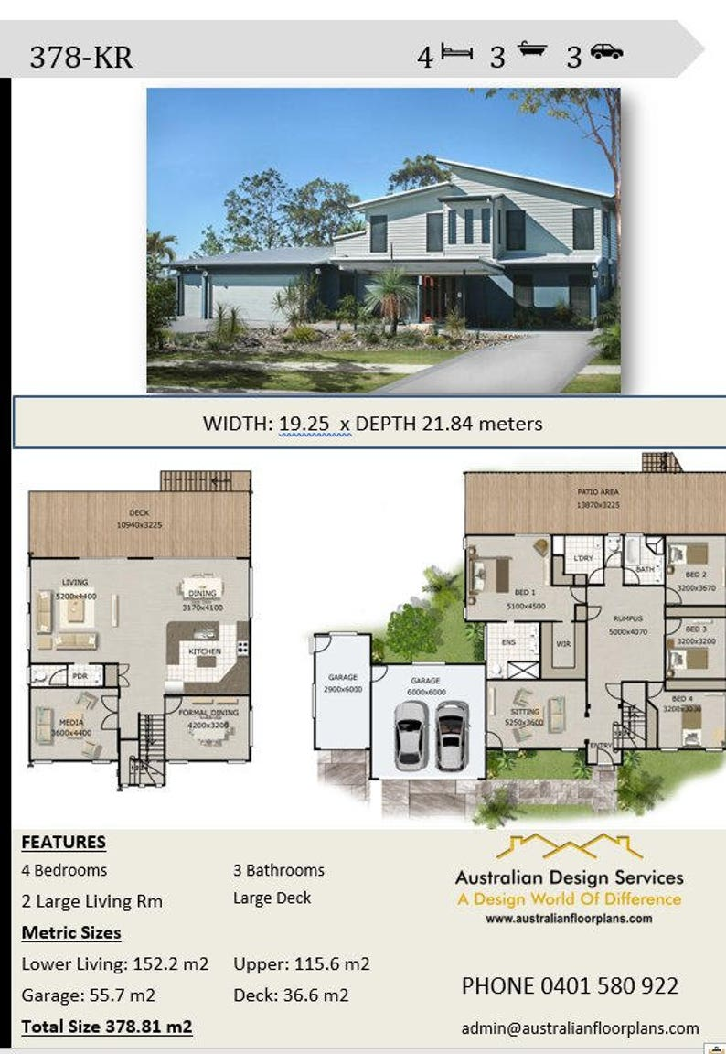 378 M2 4 Bed Triple Garage 3 Living Areas 2 Storey Etsy