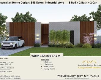 343EATON | 3 Bed + Home Studio + 2 Bathooms + 2 Car Garage - Concept house plans For Sale |  343.0 m2
