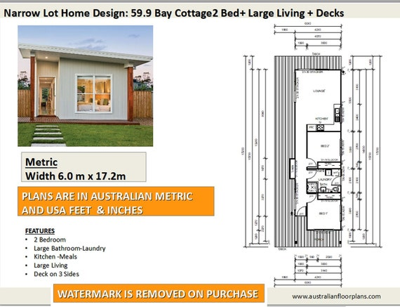 59.9 Bay Cottage | 645 sq feet or 59.9 m2 | 2 Bedroom | 2 bed granny Narrow Lot House Plans Bedroom Cottage on 2 bedroom luxury home plans, 2 bedroom starter home plans, 2 bedroom vacation home plans, luxury craftsman house plans, 2 bedroom craftsman home plans, one story narrow house plans,