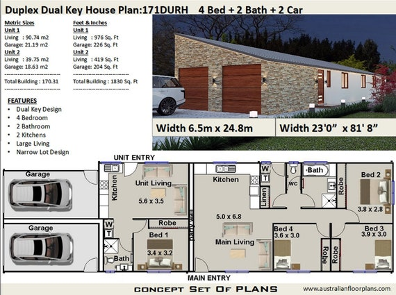 Narrow Duplex Design 171 m2 (1830 Sq Foot) | Duplex House Plans Australia on narrow lot house plans with garage, narrow lot floor plans, narrow lot house plan designs,