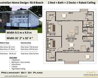 94.0 m2 | 1012 sq feet | 2 Bed + Raked Ceilings | Granny Flat  - Small Home  Concept blueprints For Sale