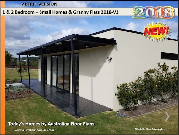 And Bedroom House Plans BOOK Small Houses Granny Flats Etsy - Granny flat 2 bedroom designs