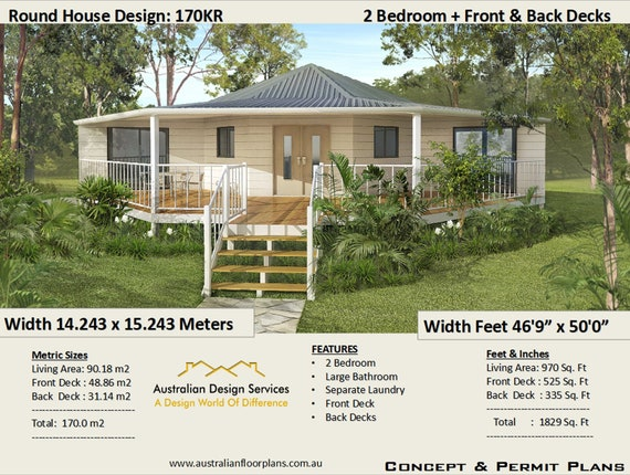 Round Home House Plans Living 970 Sq Feet Or 90 M2 2 Etsy