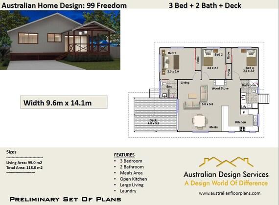 48 M48 48 Bedroom Timber Floor 48 Bedrooms On Stumps Plans Etsy Enchanting 3 Bedrooms For Sale Set Plans