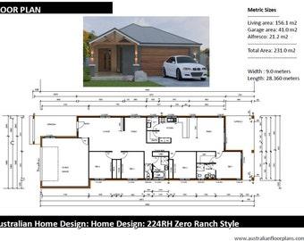 231m2 | 4 Bed 2 Bath | narrow lot |  4 Bedroom Ranch Style floor plans | house designs australia | 4 bed + 2 bath + 2 car plan