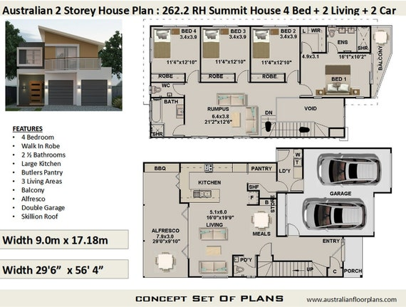 Narrow Lot 4 Bedroom house plan / 262.2m2 or 2703 sq foot / 2 storey on