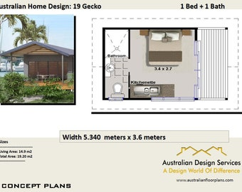 19 m2 |  1 Bedroom Transportable home - Concept House Plans For Sale