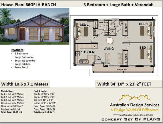 3 Bedroom House Plan 66gf 66 25m2 713 Sq Foot Concept Etsy,Color Personality Test Results Blue