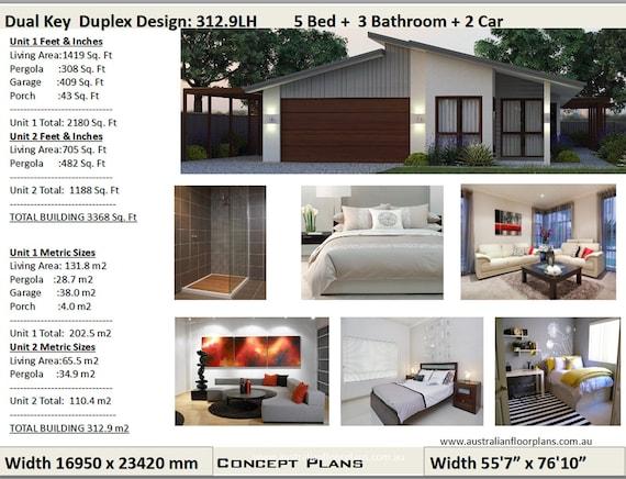 312 9m2 Or 3368 Sq Foot 5 Bedrooms Dual Key Duplex Design 5 Bedrooms Duplex Plans 5 Bedroom Duplex Skillion Roof Duplex House Plans