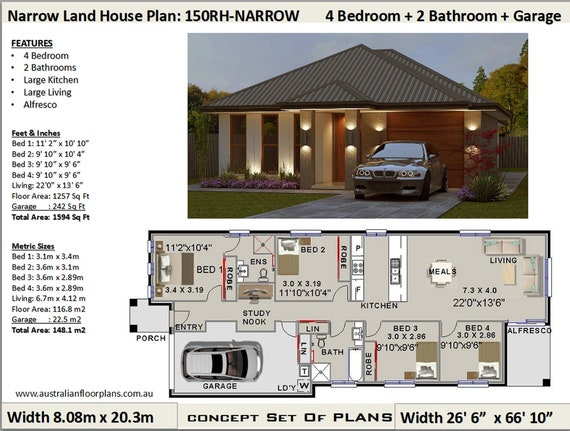 Small Land 4 Bed house plans | 4 Bedroom design Australia | 4bed floor  plans | 4bed blueprints | 4 Bed Design | 148.1 m2 or 1594 Sq. Feet