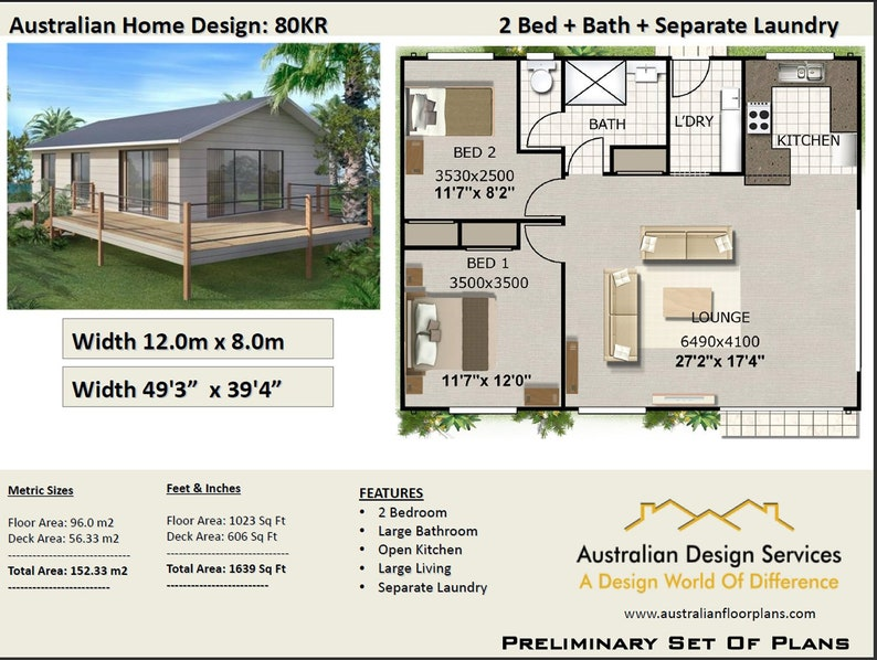 1639 Sq Foot 152 Sq Meters 2 Bedroom House Plan Australia Etsy