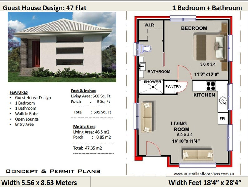 Small House Plan Guest House Design Living Area 509 Sq Feet Or 47 35 M2 1 Bed Granny Flat Concept House Plans