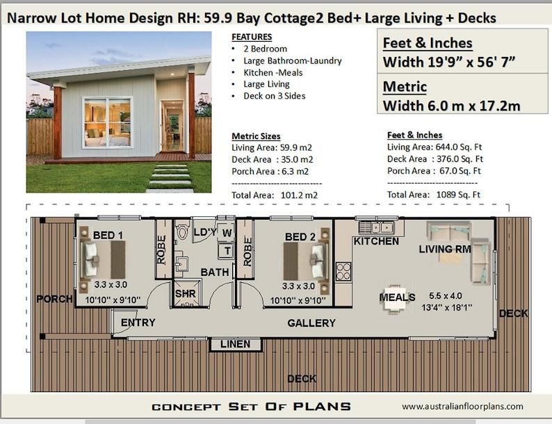 Small And Tiny Homes 2 Bedroom House Plan Australia 2 Etsy