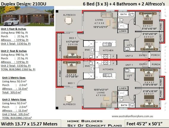 6 Bedroom 4 Bathroom Duplex House Plan 210 M2 2260 Sq Etsy