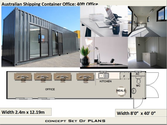 Beau Transportable Office 40 Foot Shipping Container Office | Construction  Office Plans | Blueprints USA Feet U0026 Inches   Australian Metric Sizes