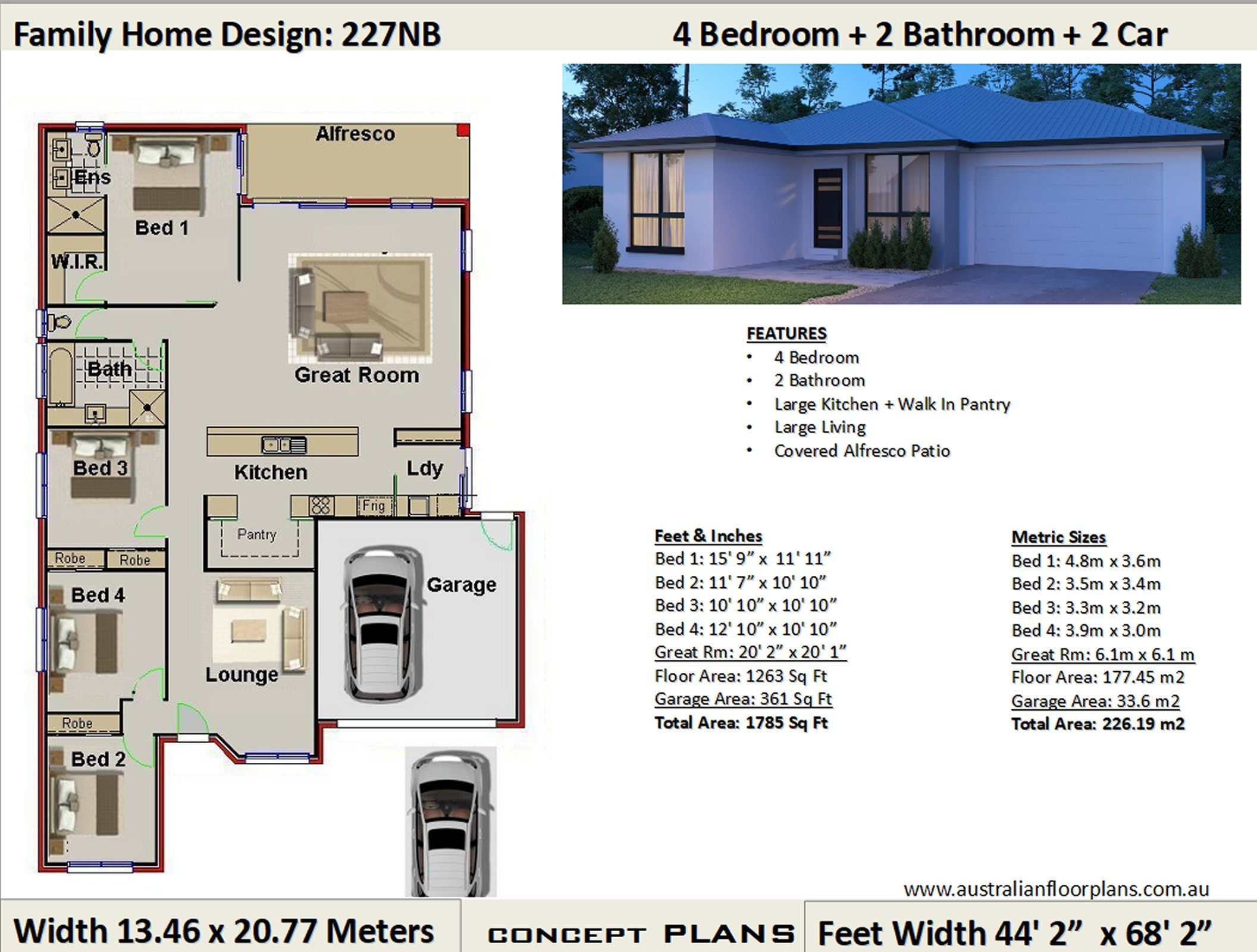 House plans 4 Bedroom house plans Double Garage Home | Etsy