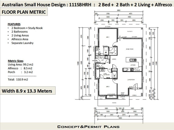 111 SBH Cad (DWG) Version: 1200 sq foot house plan or 110 .9 m2 | 2 Bedroom  + 2 Bathroom house plan | Small & Tiny House Plans |