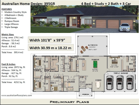 395 m2 or 4252 sq foot - Australian 4 Bed + Study + Home Plans For Rance Large Country House Plans on