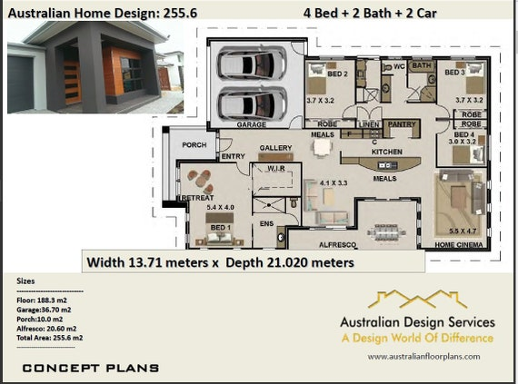 255.6 m2 Modern 4 Bedroom Concept house plans modern house ...