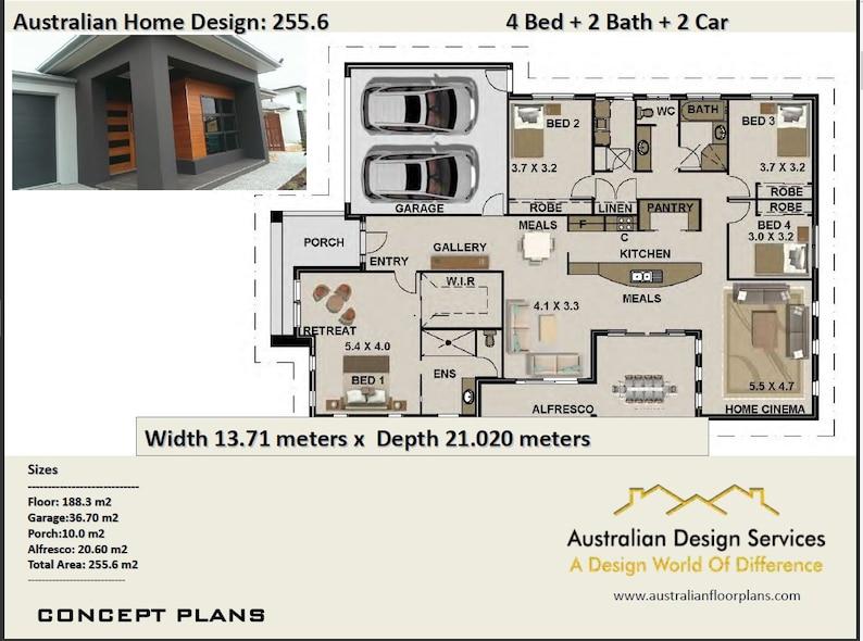 255 6 M2 Modern 4 Bedroom Concept House Plans Modern House Plans House Plans Modern Brick House Plans Builders House Plans Usa House