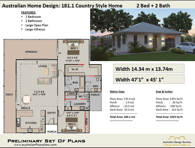 2 Bedroom House Plans Australia 180m2 1924 Sq Ft Etsy