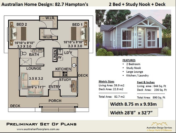Small House Plan Australia 2 Bedroom Small Home Design Etsy