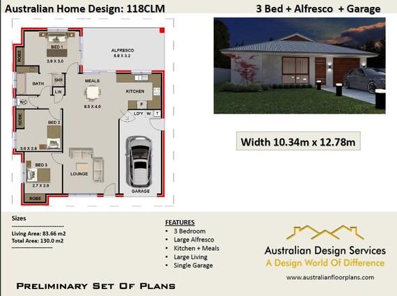 Modern House Plans 130m2   3 bedroom + Garage   3 Bed Room house plans on