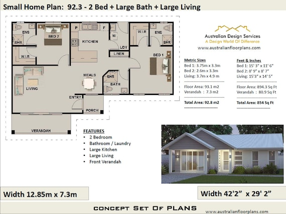 House Plans Australia, Small House Plans, 2 Bedroom House Plan, 2 Bedroom +  3 Bath house plan 92.3, 2 bedroom House Plans, modern house plan