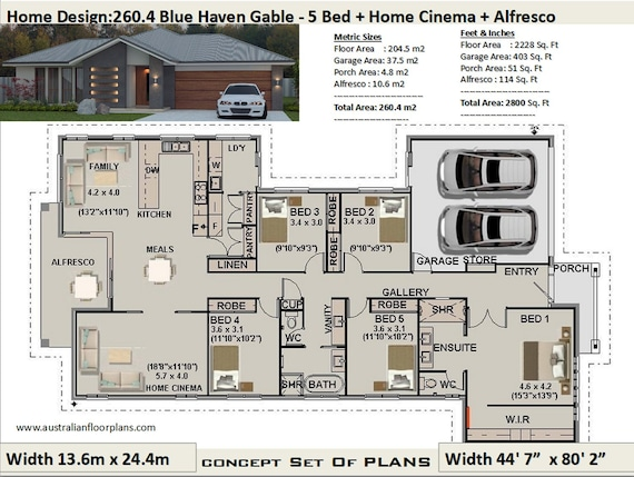 5 Bedroom House Plans 260 4 M2 Or 2800 Sq Feet 5 Bedroom Etsy