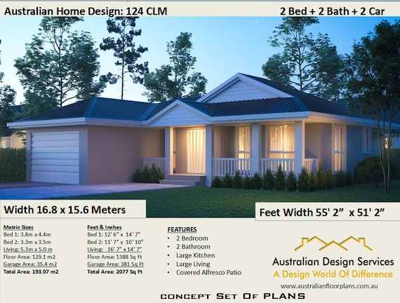129 M2 Or 1388 Sq Foot Australian 2 Bedroom House Plan Etsy