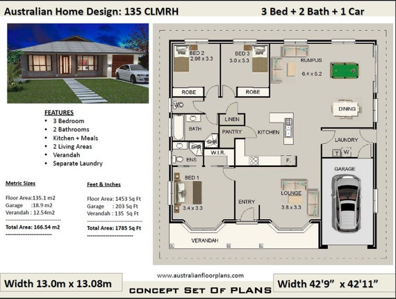 3 bedroom plans | 166m2 | 1785 Sq.Ft | 3 Bedroom House Plans Australia |  Country Style 3 Bed house plans| modern 3 Bed Concept house plans