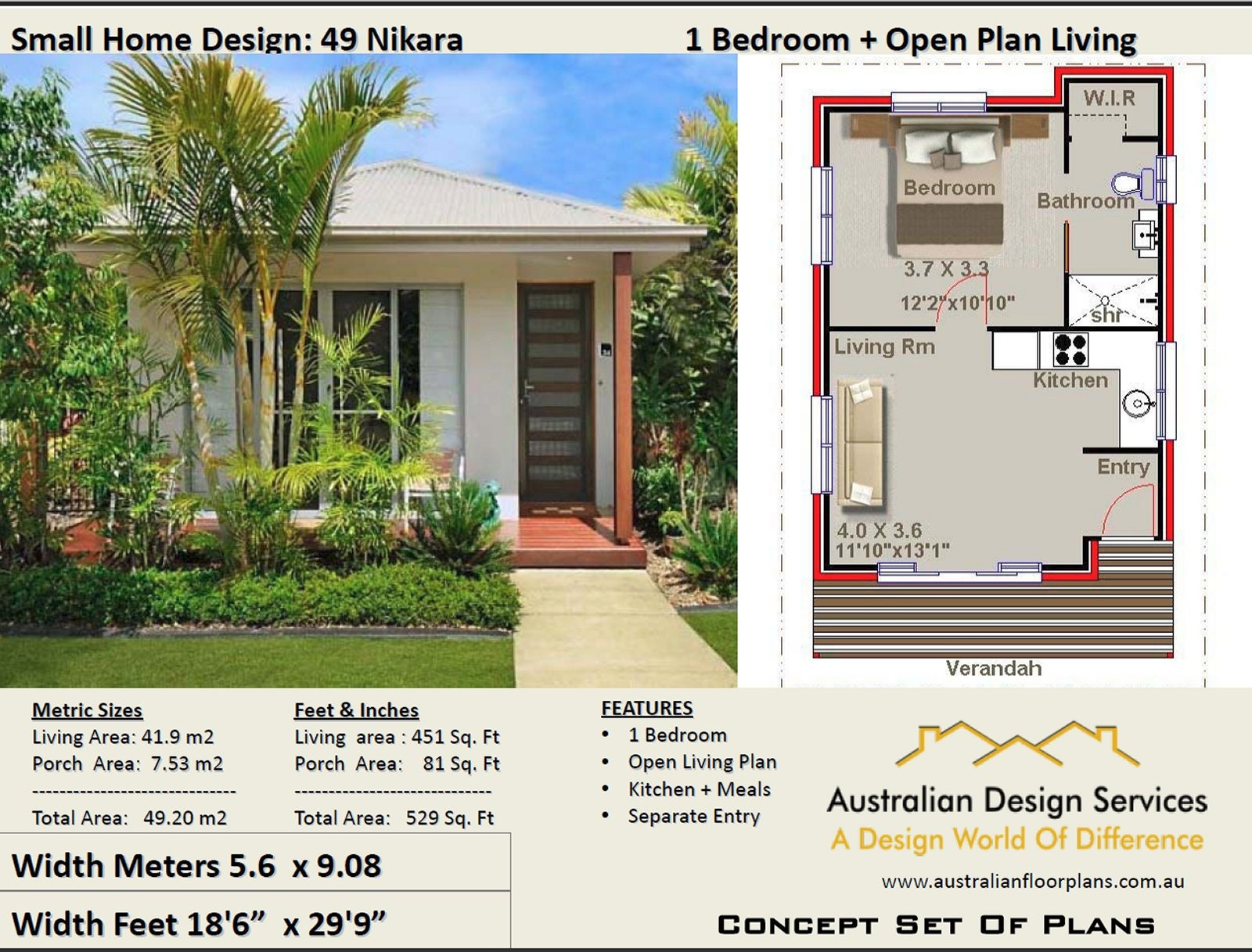 Small House Plan 49 Nikara 529 Sq Foot 49 2 M2 1 Bedroom Etsy