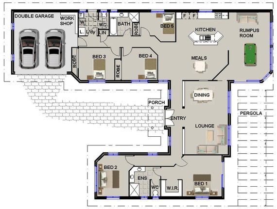 259 m2 | 5 Bedrooms | U Shaped House Plan 5 bed | Large 5 bed home U Shaped House Plans With Pool Bad Rooms on
