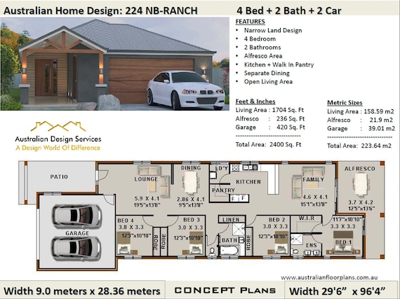 223.0 m2 or 2400 Sq.Foot | 4 Bed 2 Bath | narrow lot | study nook | on ranch home plans with carport, ranch home plans with large kitchen, ranch home plans with pool, ranch home plans with hearth rooms, log home with 4 car garage, ranch home plans with office,