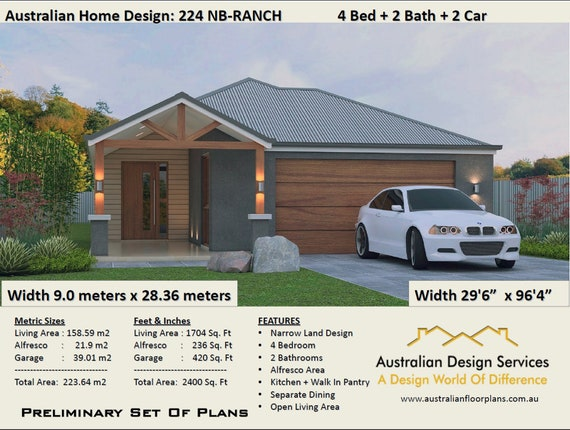 4 Bedroom Ranch Style Floor Plans House Designs Australia 4 Bed 2 Bath 2 Car Plan 223 0 M2 2400 Sq Foot 223 0 M2 2400 Sq Foot