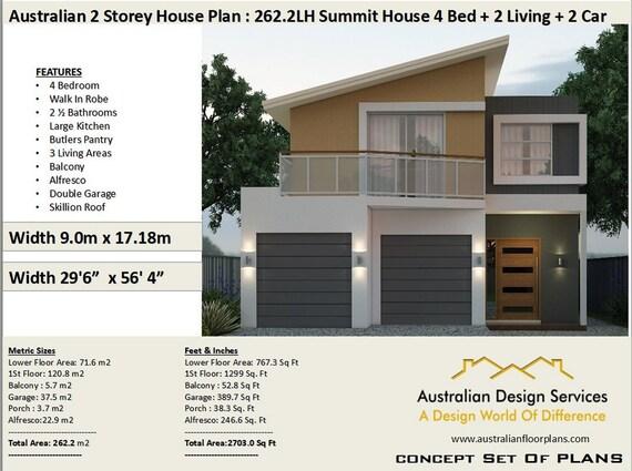 262 2m2 Or 2703 Sq Foot Australian 4 Bedroom House Plan 2 Etsy