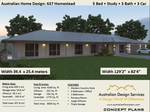 637m2 | 6856 Sq.Ft | 5 Bedrooms Country Style home plans | 5 Bedrooms house  plans Australia | 5 Bed + Triple Garage House plans for sale