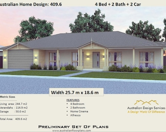 Acreage Design 409.6 m2  | 4 Bed + 2 Bath + 2 Car House Plans For Sale  |
