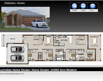 231m2 | 4 Bed 2 Bath | narrow lot |  4 Bedroom Modern floor plans | house designs australia | 4 bed + 2 bath + 2 car plan