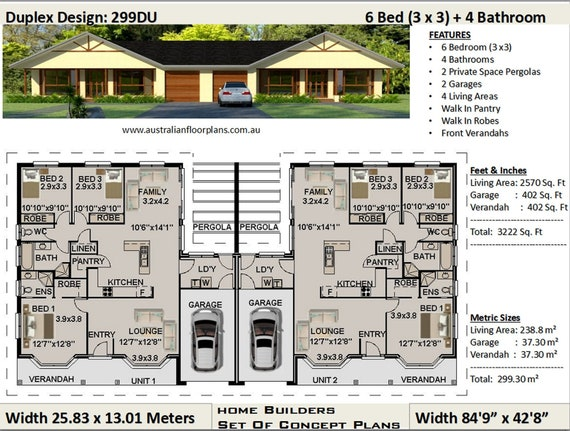 3222 Sq. Feet (299.30 m2) duplex house plans | 6 Bedrooms duplex design  Flat House Plan In Ghana Bedroom on 2 bedroom house plans in ghana, 6 bedroom house plans in ghana, 3 bedroom house plans in ghana,