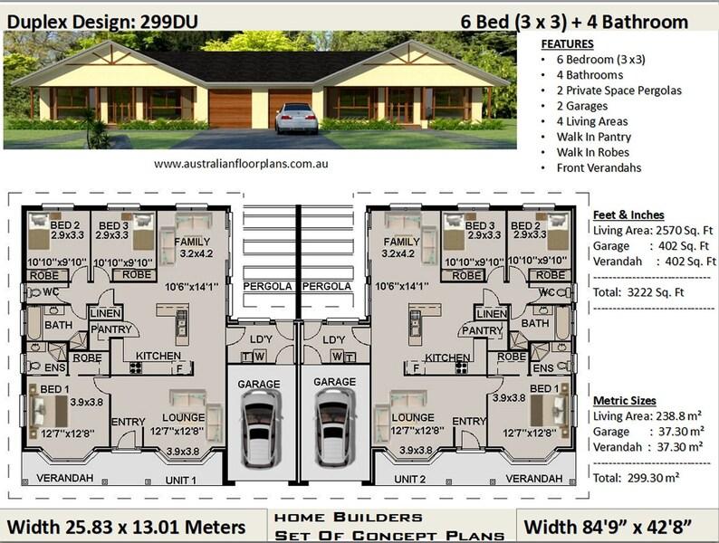 duplex house plans | 6 Bedrooms duplex design | 6 Bedrooms duplex plans | 6  bedroom duplex | duplex house plans, duplex house plan australia