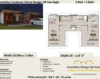 2 Bed  Shipping Container Home  68.0  m2 or 731 sq foot   | Crazy Sale Price Last Day ! Concept Plans ( blueprints ) For Sale
