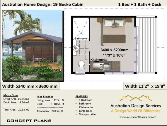 House Plan 1 Bedroom Transportable Home 20m2 220 Sq Ft Etsy