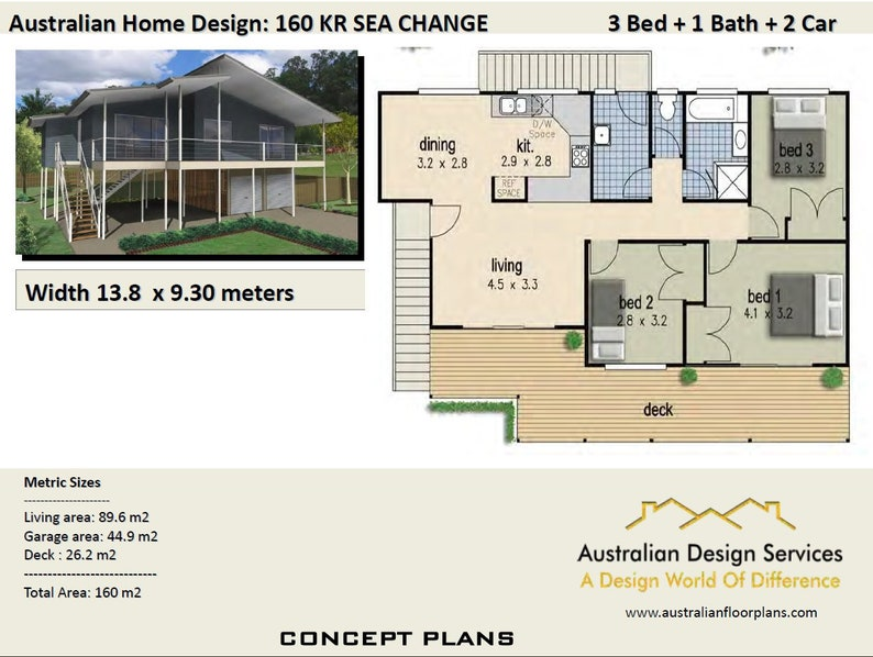 160kr Beach 150m2 3 Bed 2 Bathrooms Hi Set Design High Set House Plan High Set Design Beach Cottage Pole Home Plan Sale